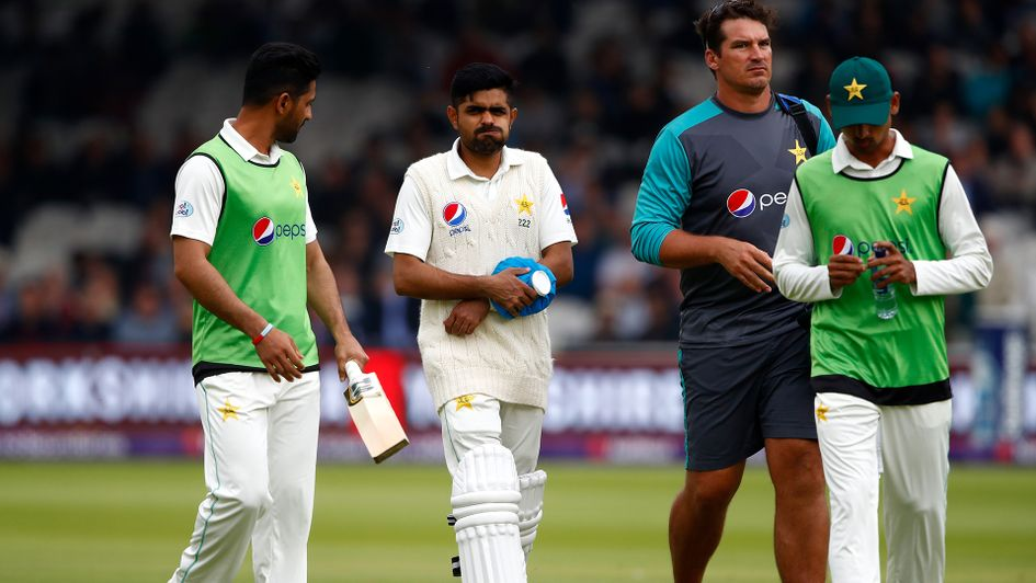 Babar Azam leaves the field in pain