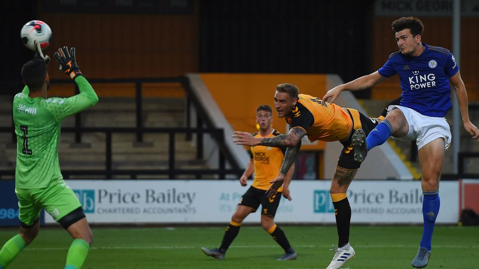 Harry Maguire heads home for Leicester City in their pre-season win over Cambridge United