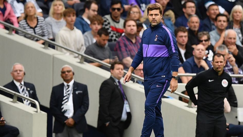 Mauricio Pochettino: Spurs boss watches his team in action as they beat Aston Villa in their season-opening game