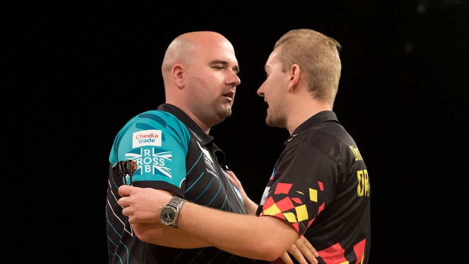 Rob Cross and Dimitri van den Bergh (Picture: Lawrence Lustig/PDC)
