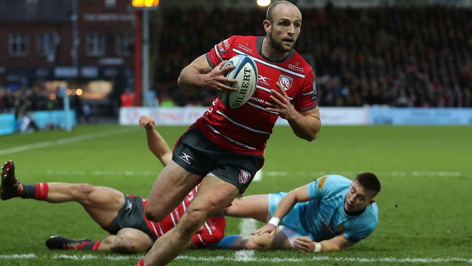 Gloucester's Charlie Sharples runs in to score the game's second try