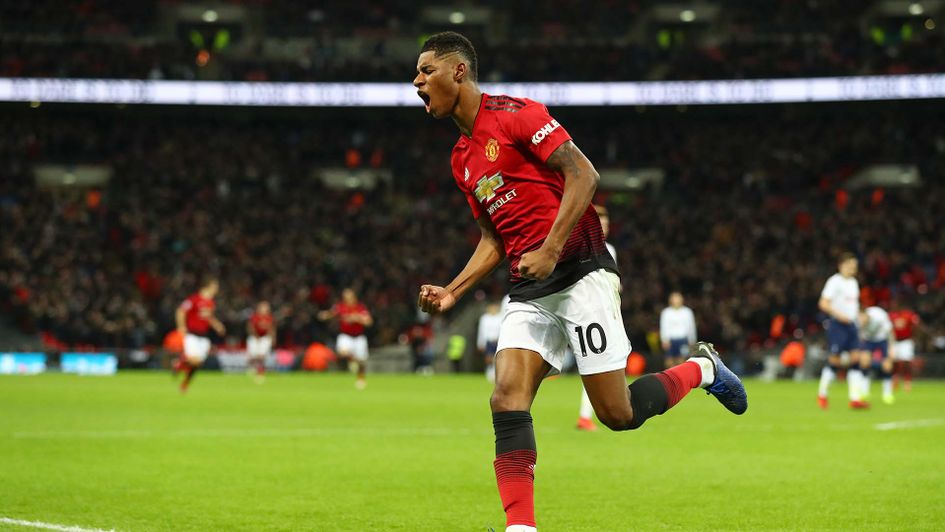 Marcus Rashford celebrates scoring for Manchester United at Tottenham