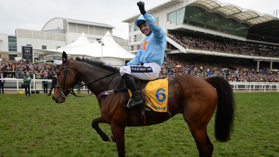 Ruby Walsh celebrates on Un De Sceaux at Cheltenham