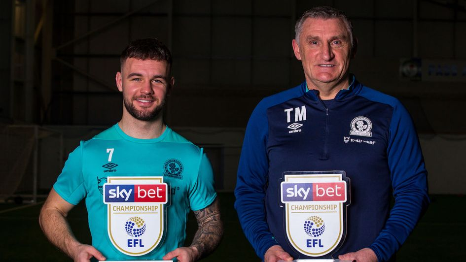 Tony Mowbray and Adam Armstrong with their January awards