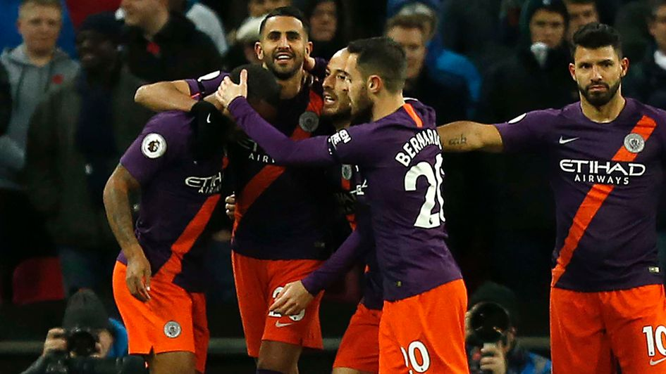 Riyad Mahrez after his goal for Manchester City