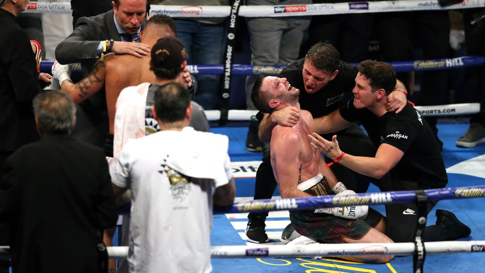 Josh Taylor celebrates after maintaining his unbeaten record