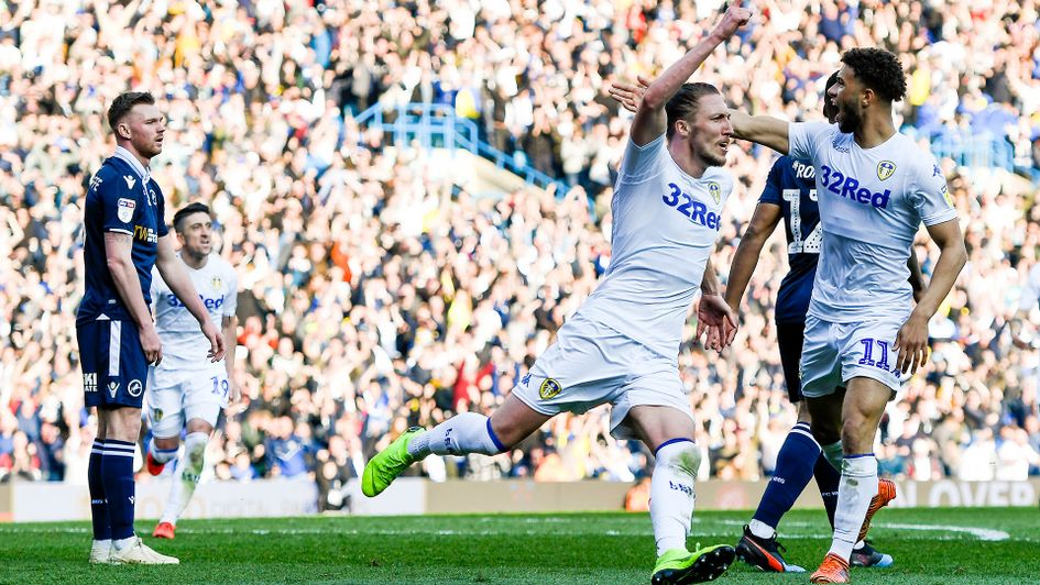 Luke Ayling celebrates scoring against Millwall