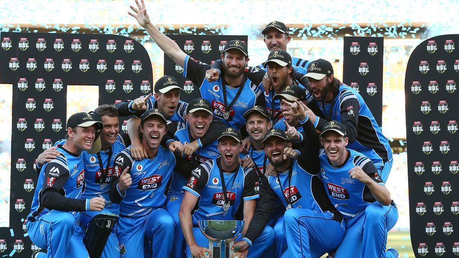 Adelaide Strikers with the Big Bash League trophy