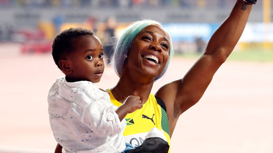 Shelly-Ann Fraser-Pryce with her son Zyon