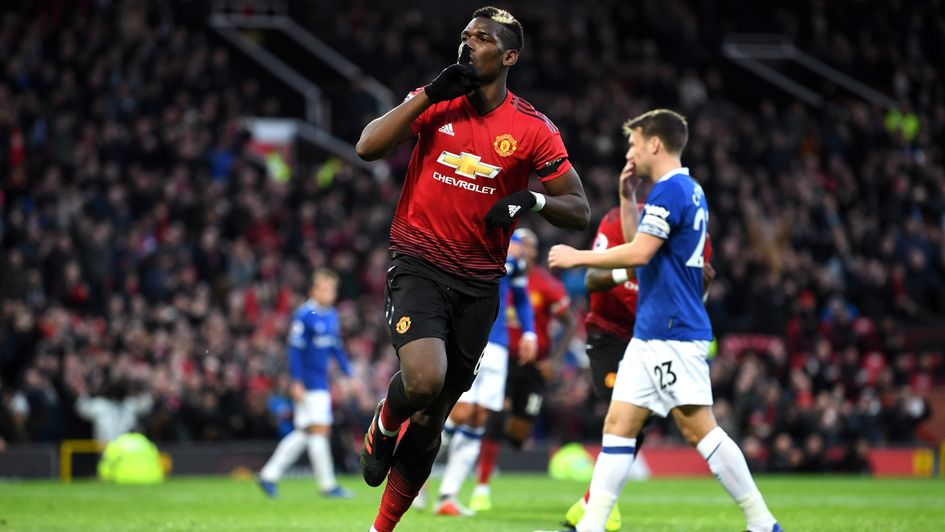 Relief: Paul Pogba's penalty was saved by Everton's Jordan Pickford, but the Man United midfielder converted the rebound