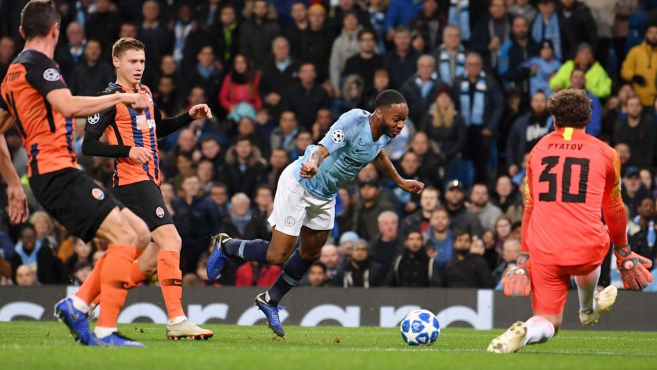Raheem Sterling goes down for a penalty against Shakhtar Donetsk