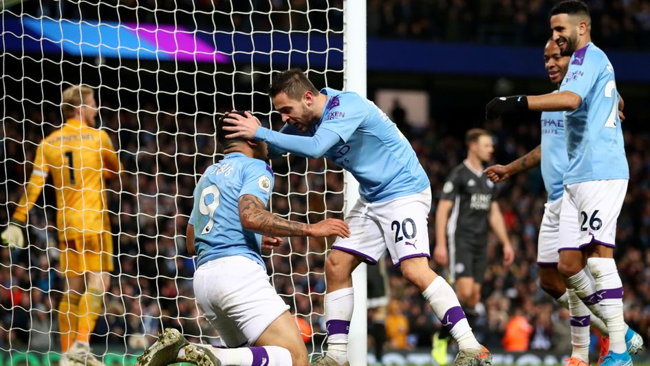 Manchester City celebrate Gabriel Jesus' goal against Leicester at the Etihad