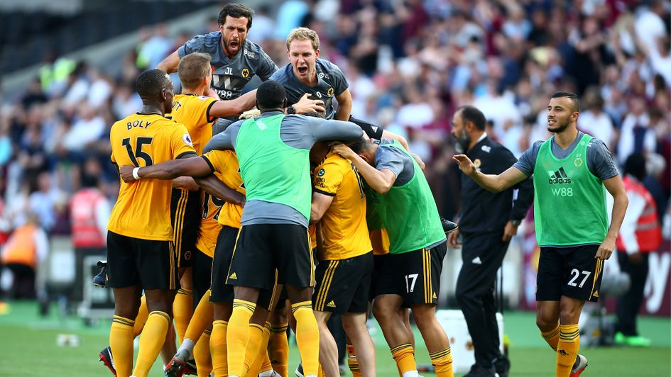 Wolves celebrate a big win at West Ham