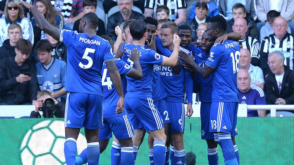 Leicester celebrate Jamie Vardy's penalty at Newcastle