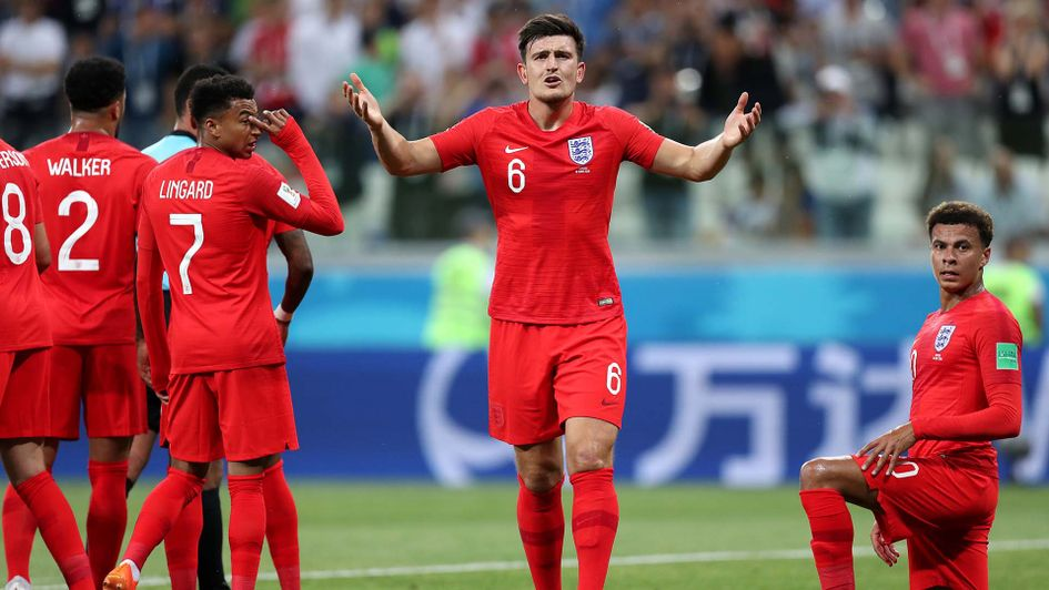 Harry Maguire in action for England at the World Cup
