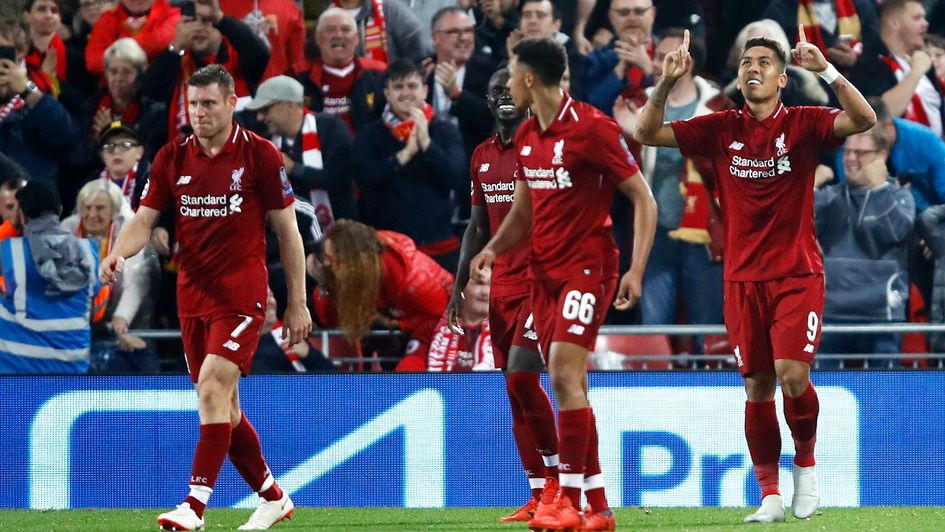 Liverpool's Roberto Firmino celebrates his winner v PSG in the Champions League