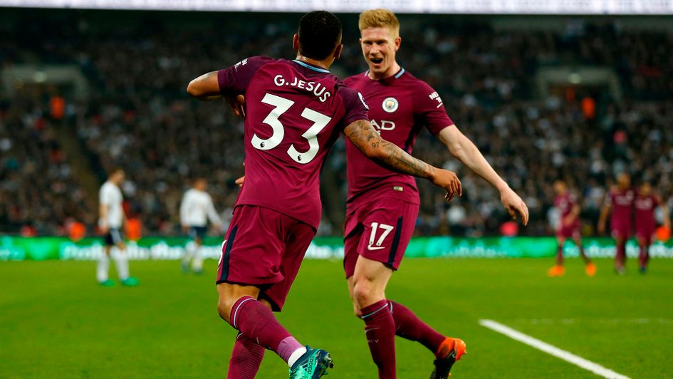 Gabriel Jesus celebrates with Kevin De Bruyne after scoring for Manchester City