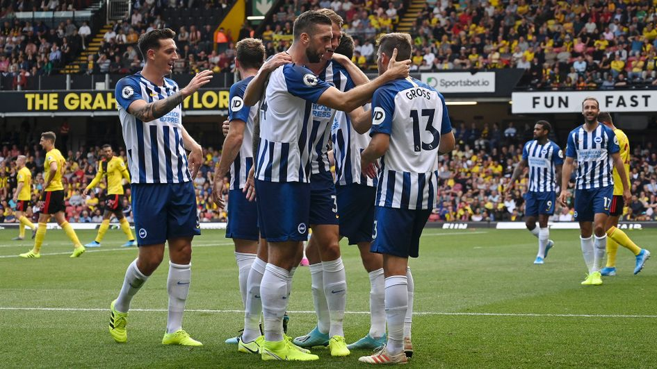 Brighton celebrate taking the lead against Watford