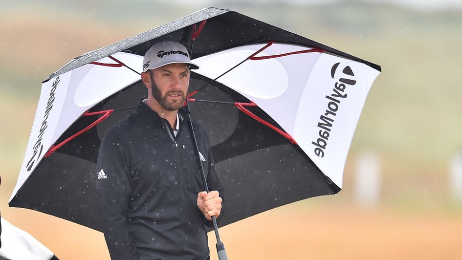 Dustin Johnson was not singing in the rain