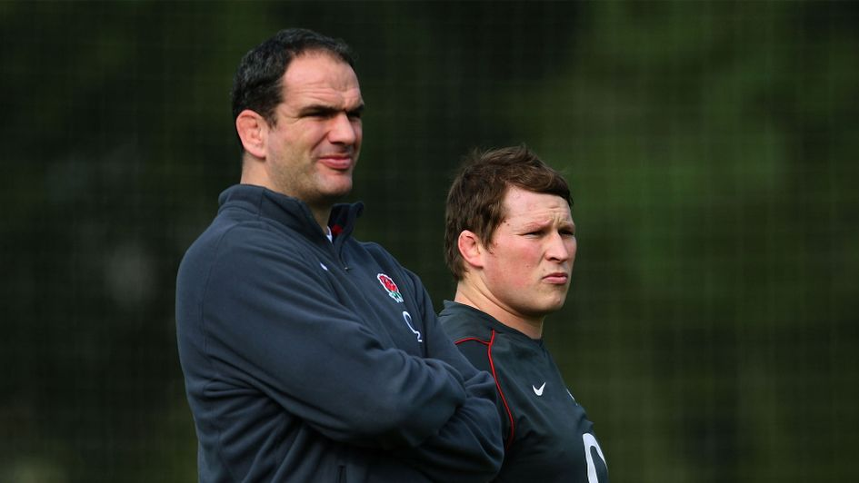Martin Johnson (l) and Dylan Hartley during Johnson's reign as England head coach in 2011