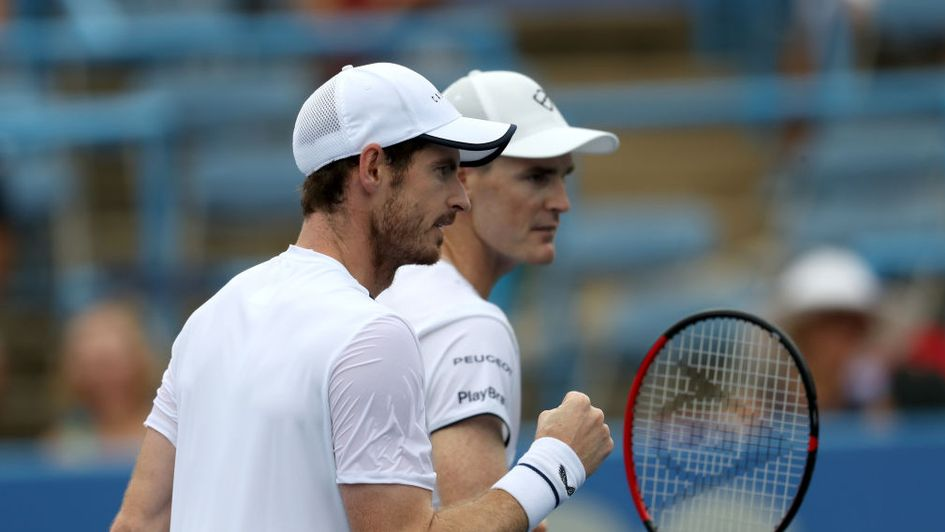 Andy and Jamie Murray in action in Washington