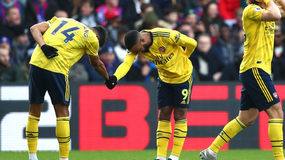 Pierre-Emerick Aubameyang and Alexandre Lacazette celebrate Arsenal's opening goal