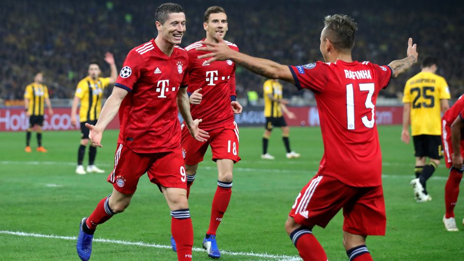 Robert Lewandowski celebrates his goal for Bayern Munich at AEK Athens in the Champions League