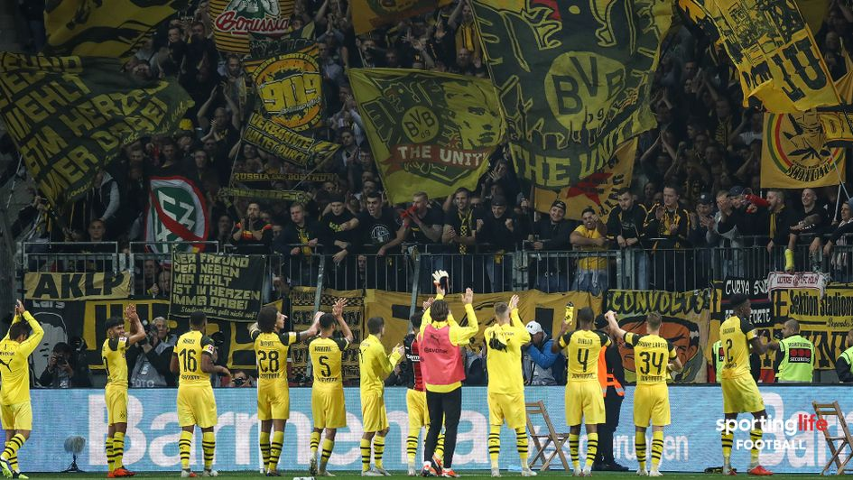 Borussia Dortmund celebrate after victory over Bayer Leverkusen