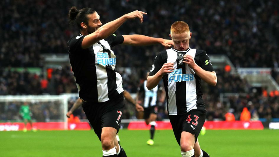 Matty Longstaff celebrates scoring for Newcastle on his debut