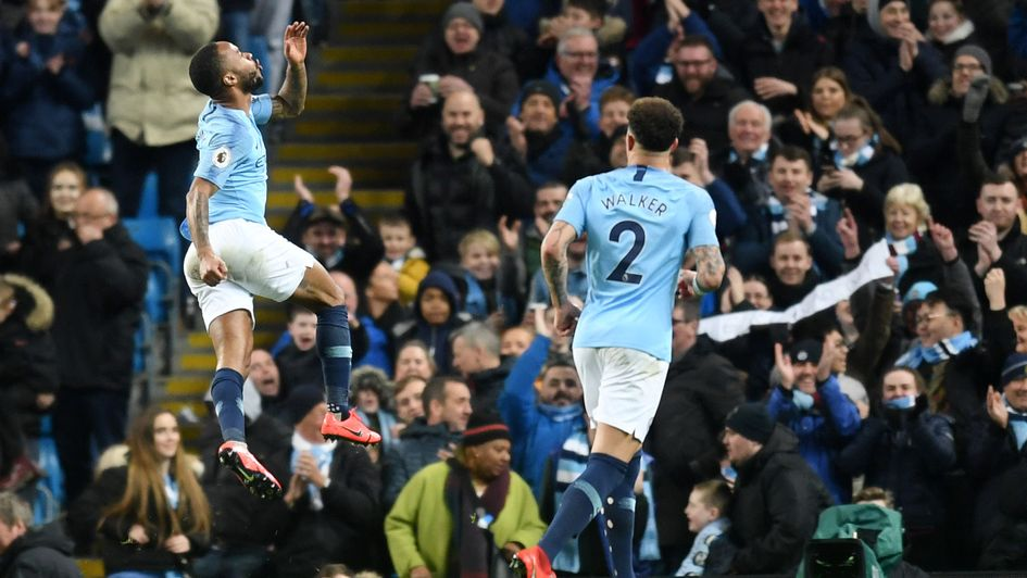 Raheem Sterling: The Manchester City attacker celebrates after completing his hat-trick against Watford