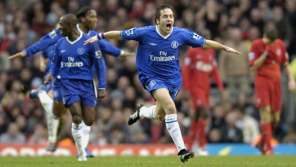 Joe Cole celebrates after scoring for Chelsea against Liverpool
