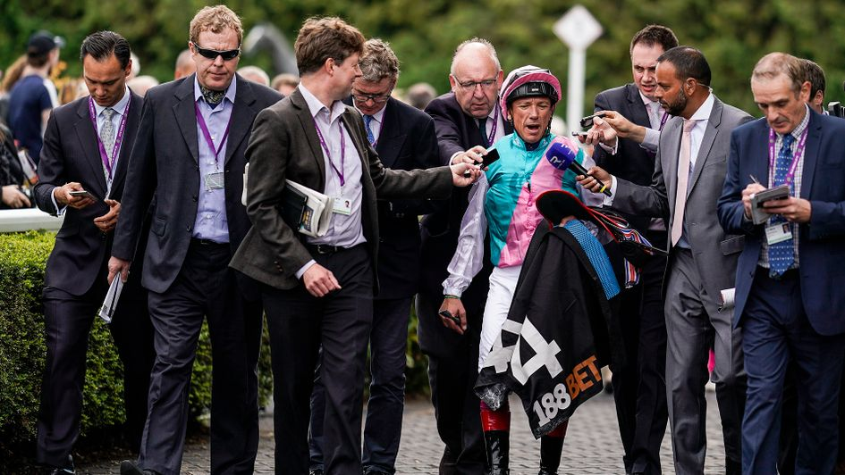 Frankie Dettori chats to the press after Enable's win