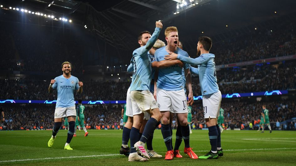 Manchester City players celebrate Sergio Aguero's goal in the Champions League quarter-final second leg against Tottenham