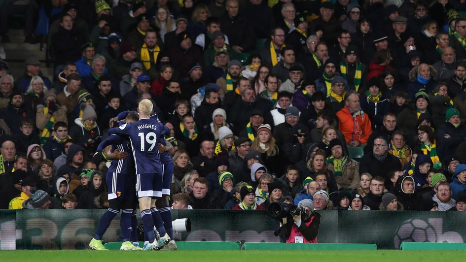 Watford celebrate Andre Gray's goal in their Premier League win at Norwich
