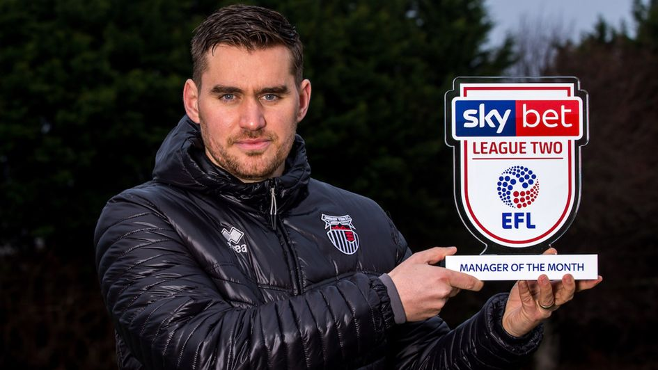 Michael Jolley won the Sky Bet League Two Manager of the Month award