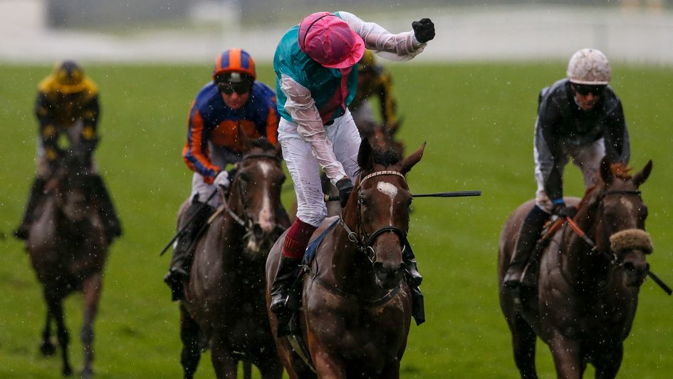 Frankie Dettori celebrates success on Enable in the King George