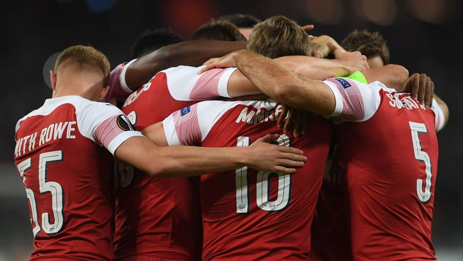 Arsenal celebrate after scoring against Qarabag