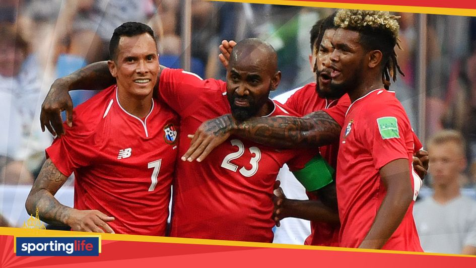 Felipe Baloy (centre) celebrates his World Cup goal with his Panama teammates