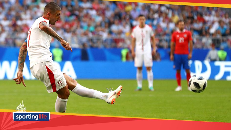 Aleksandar Kolarov scores Serbia's first goal of the 2018 World Cup