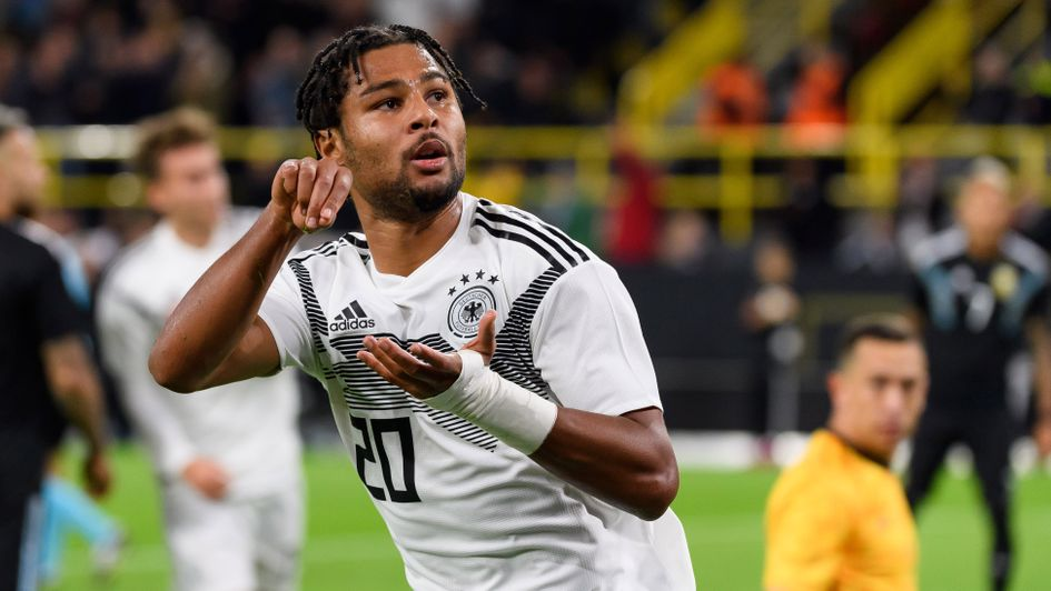 Serge Gnabry celebrates his goal for Germany against Argentina