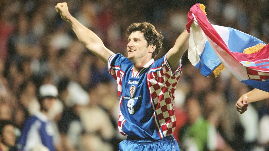 Davor Suker of Croatia celebrates after the World Cup quarter-final match against Germany