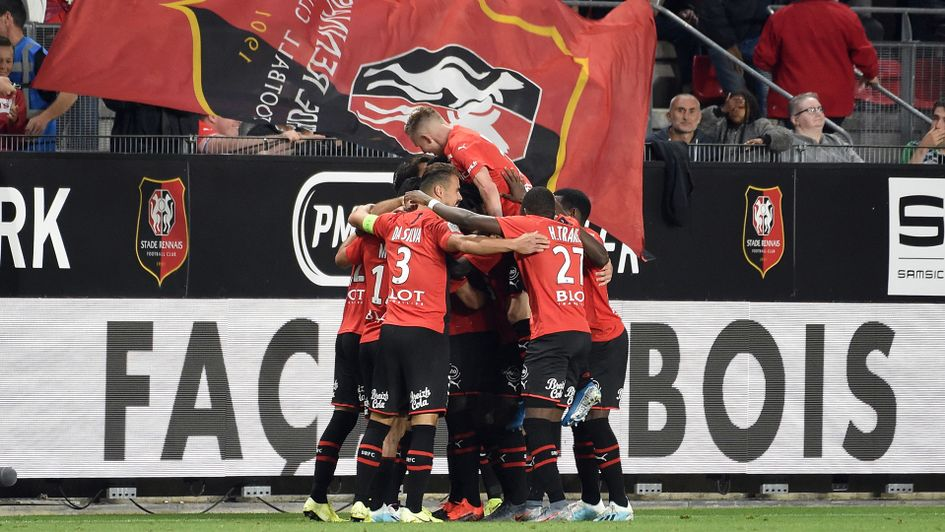 Celebrations for Rennes in their victory over PSG