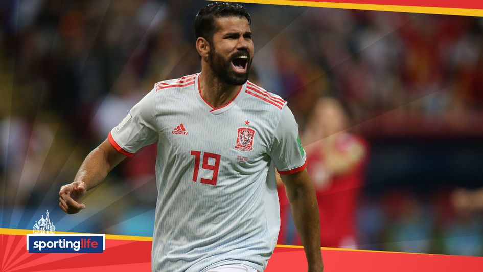 Diego Costa celebrates after scoring for Spain against Iran