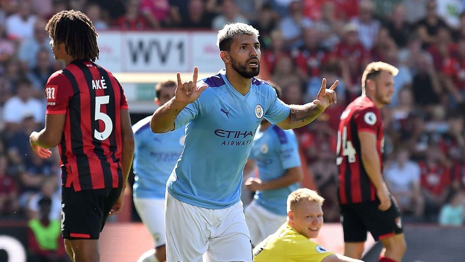 Sergio Aguero celebrates scoring for Manchester City at Bournemouth