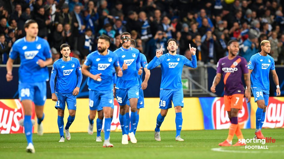 Hoffenheim celebrates after scoring against Man City