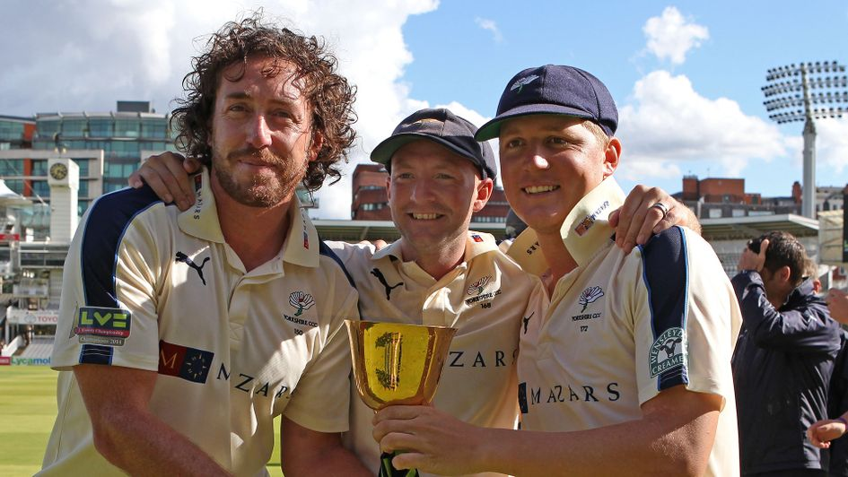 Ryan Sidebottom winning trophies with Yorkshire