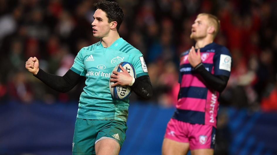 Joey Carbery celebrates a try for Munster