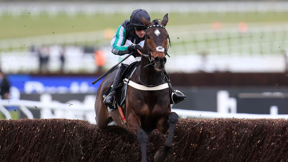 Altior clears the last on his way to Champion Chase glory
