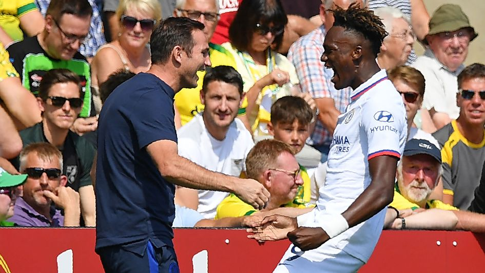 Frank Lampard, left, and Tammy Abraham celebrate the striker's first goal in Chelsea's 3-2 win at Norwich