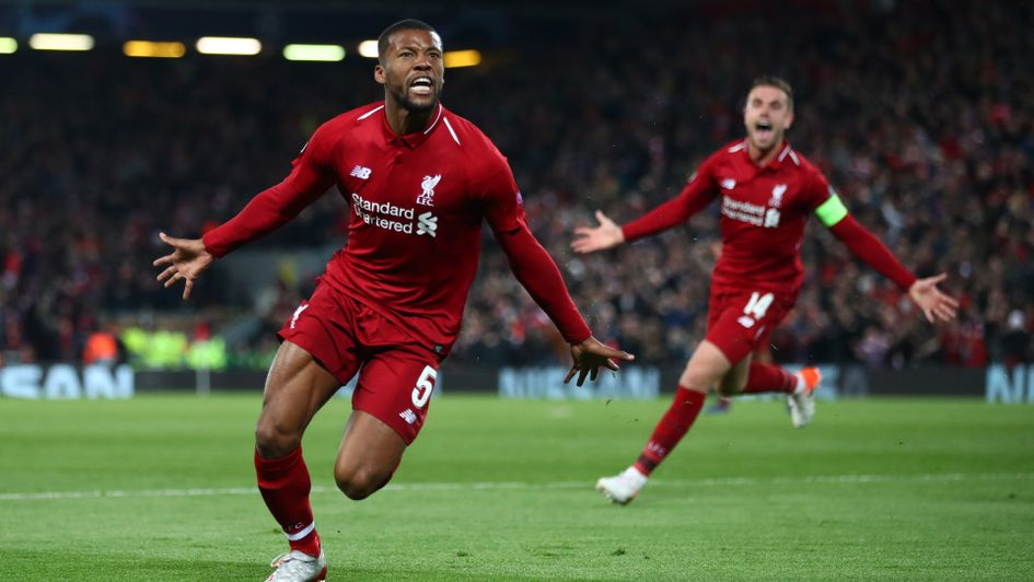 Georginio Wijnaldum: The Dutch midfielder celebrates after scoring his second goal against Barcelona